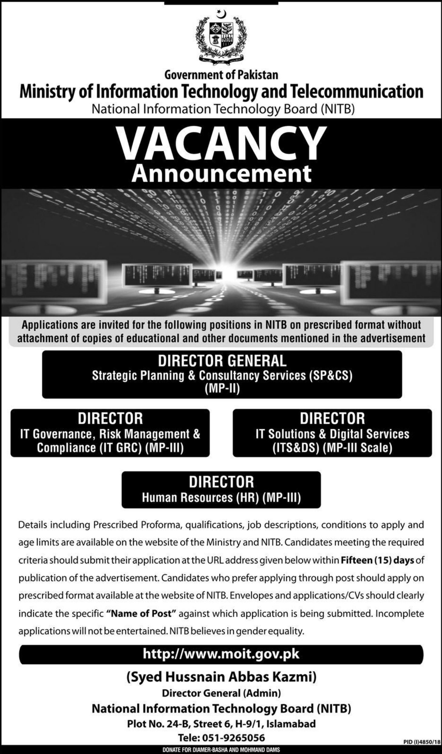 Ministry of Information Technology and Telecommunication Jobs 2019 NITB Islamabad Latest