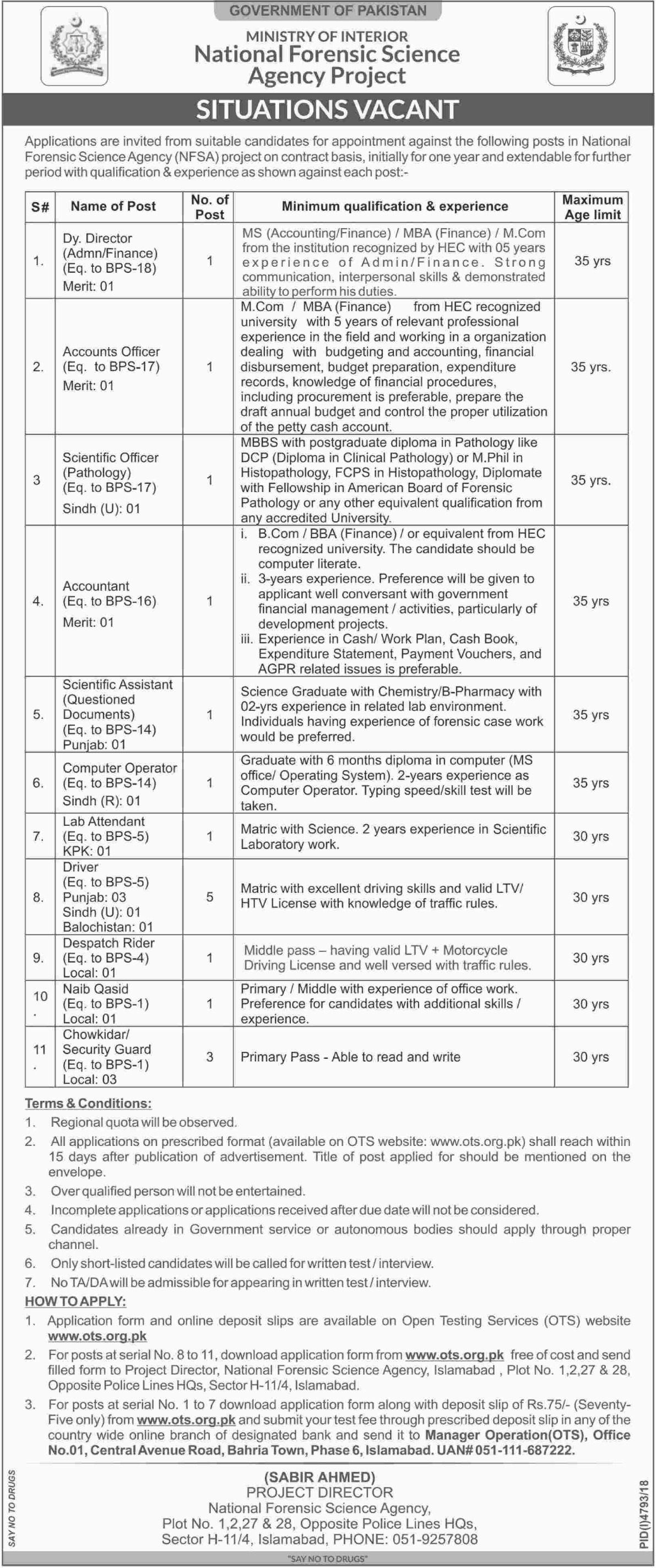 Ministry of Interior Jobs 2019 NFSA National Forensic Science Agency Project Apply through OTS