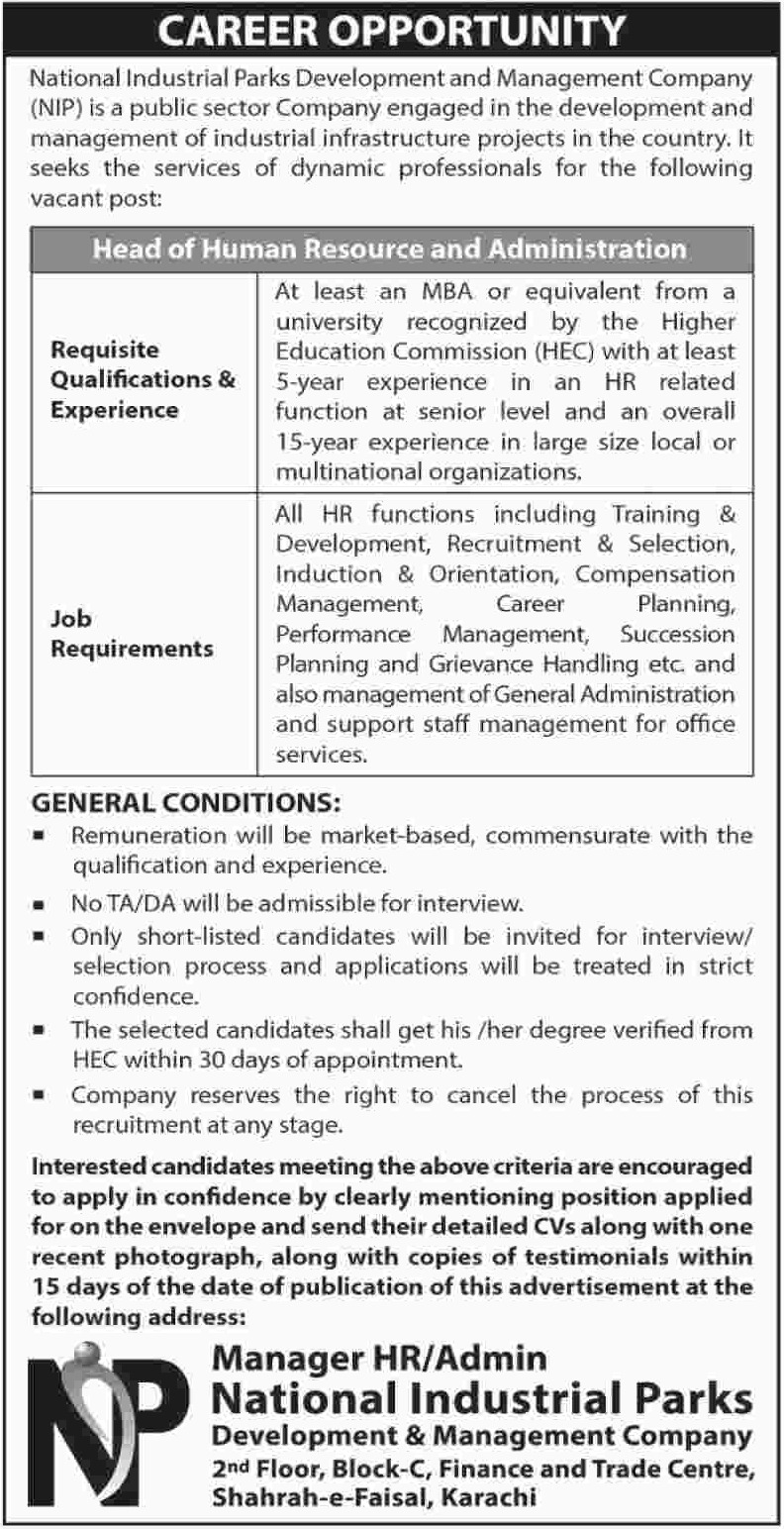 National Industrial Parks Development and Management Company Jobs 2019 Latest