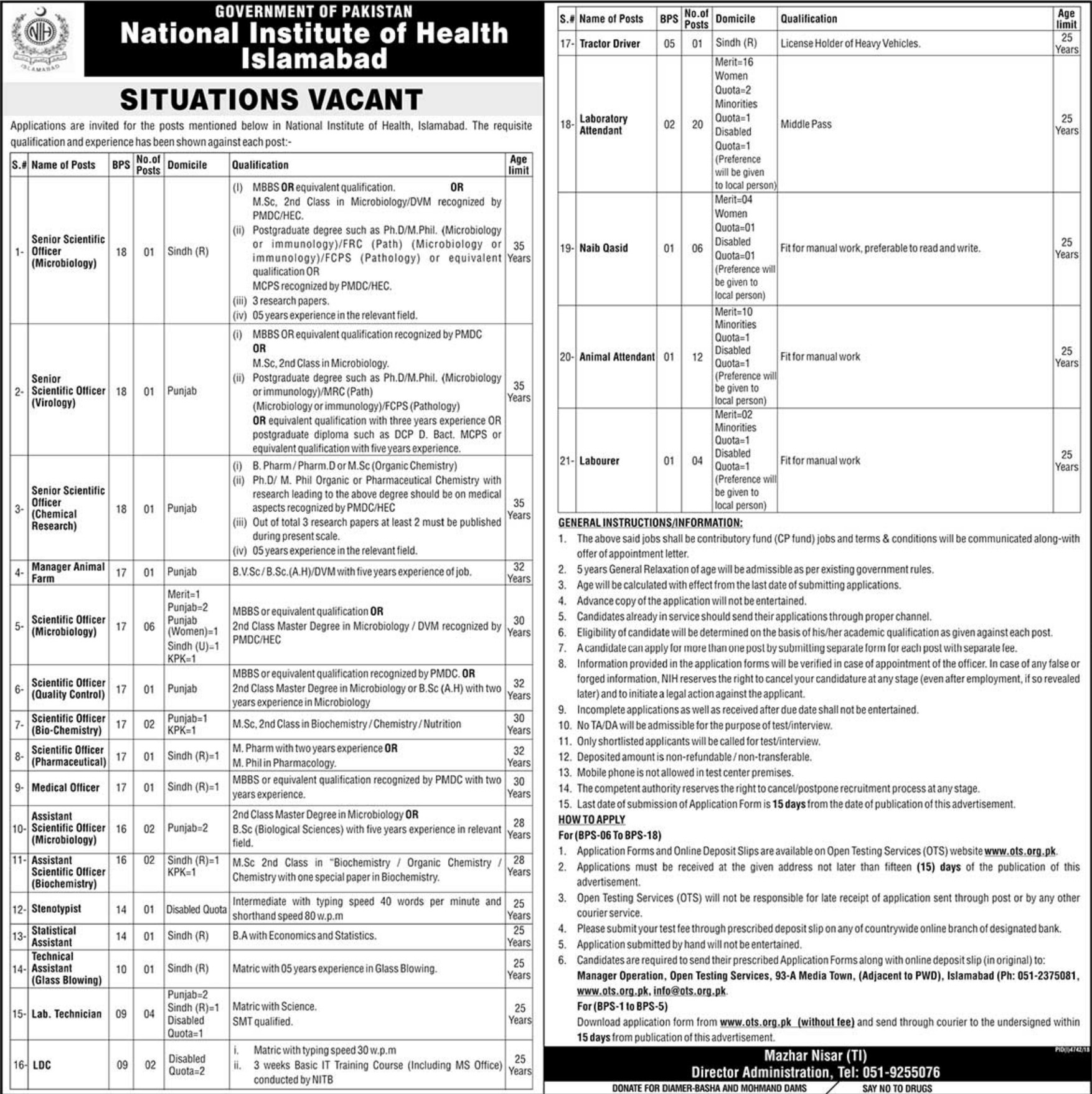 National Institute of Health Islamabad Jobs 2019 OTS