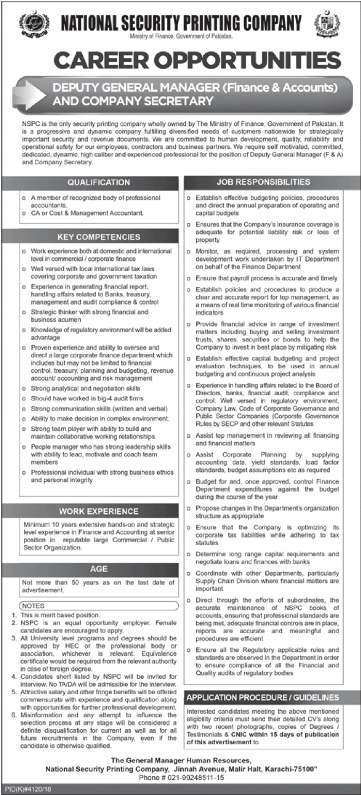 National Security Printing Company Jobs 2019