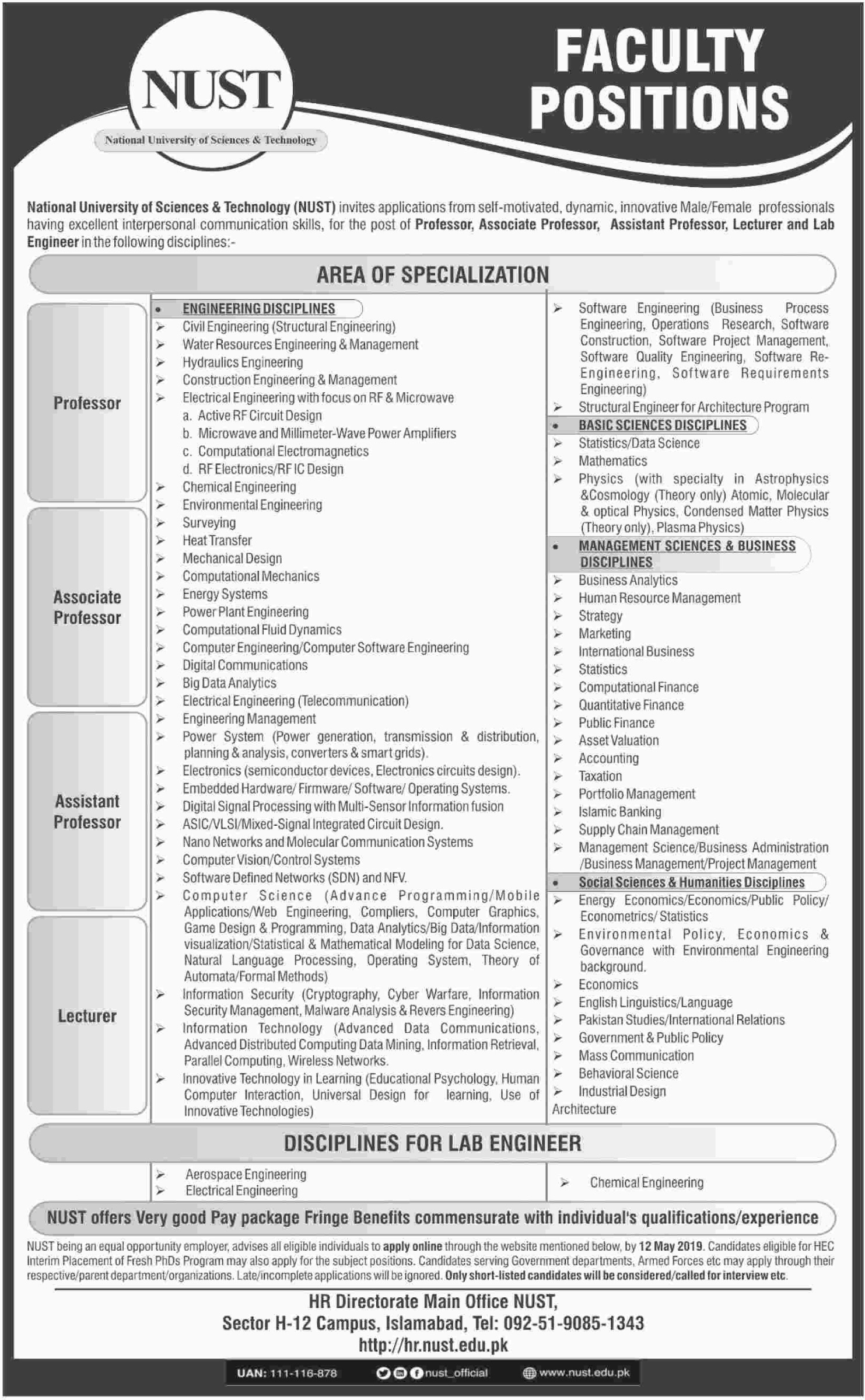 National University of Science & Technology NUST Islamabad Jobs 2019 Latest
