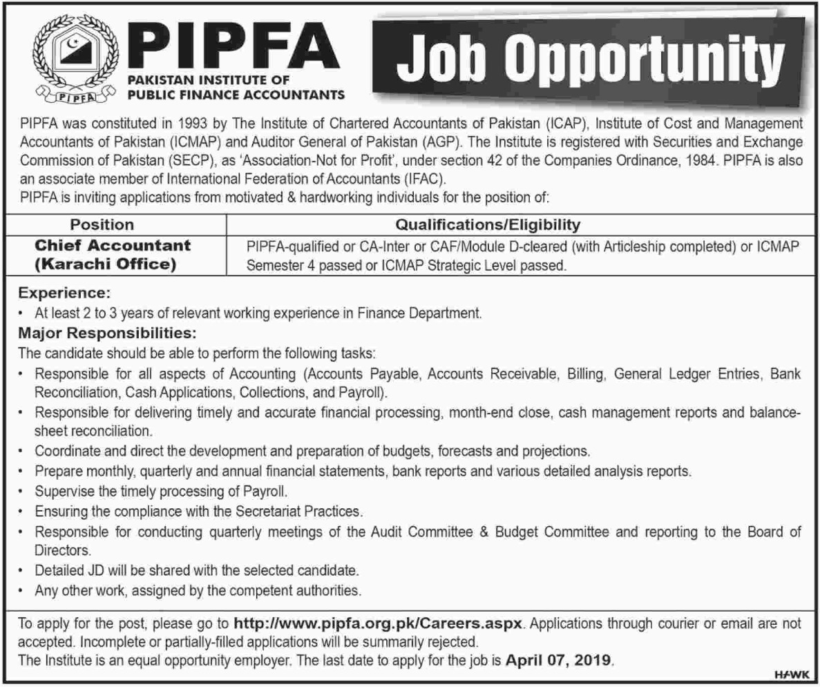 Pakistan Institute of Public Finance Accountants PIPFA Jobs 2019 Karachi Latest