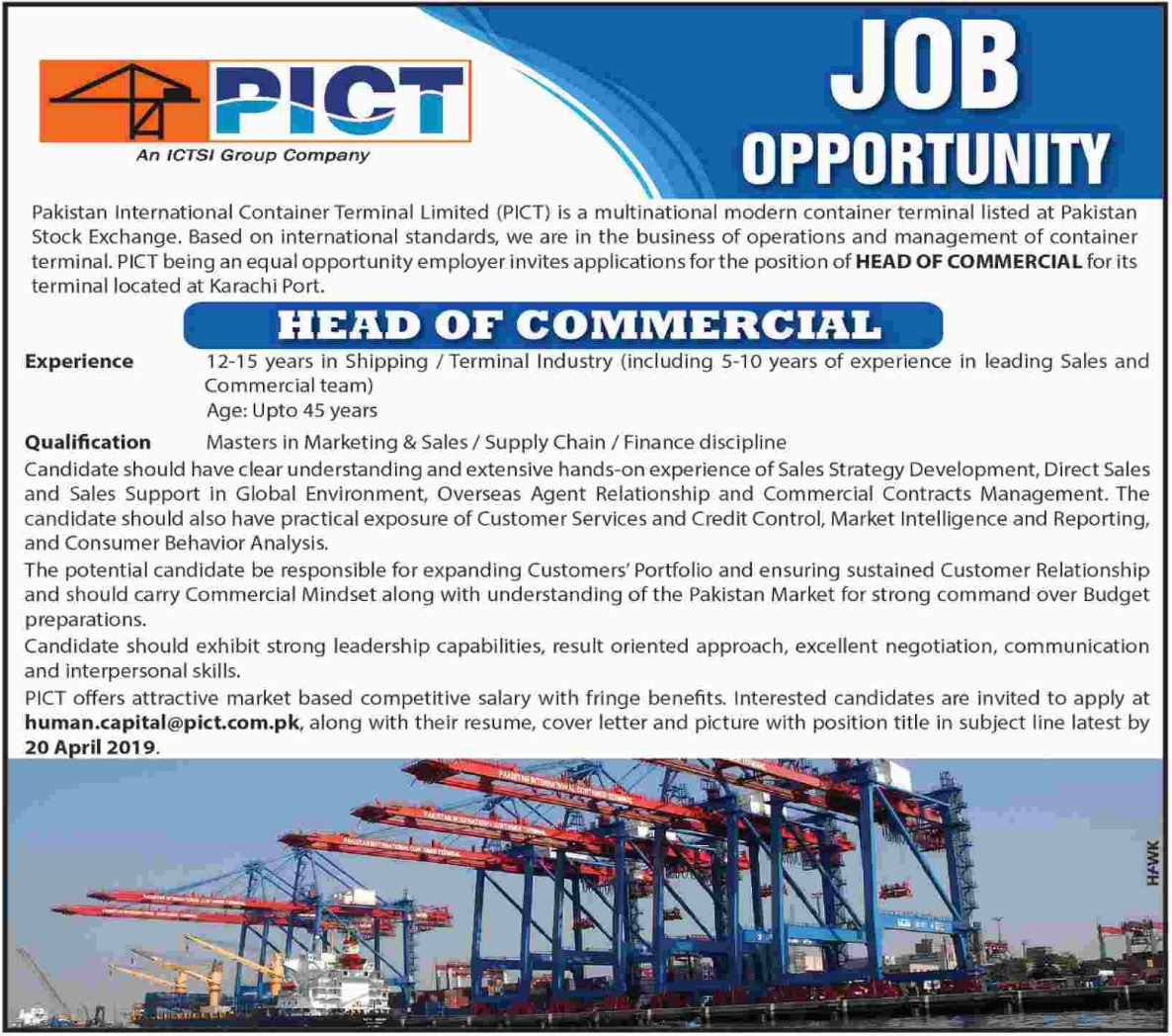 Pakistan International Container Terminal Ltd PICT Jobs 2019 Latest