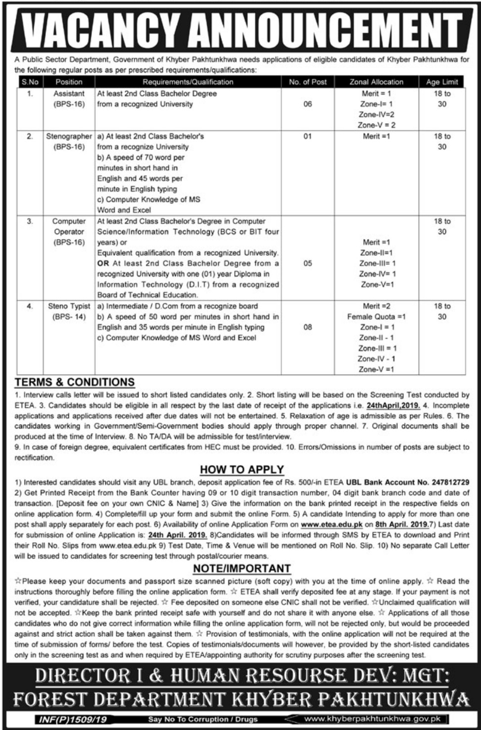 Public Sector Department KPK Jobs 2019 Apply through ETEA