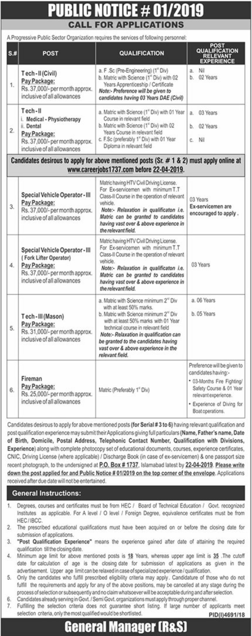 Public Sector Organization Jobs 2019 P.O.Box 1737 Islamabad Latest