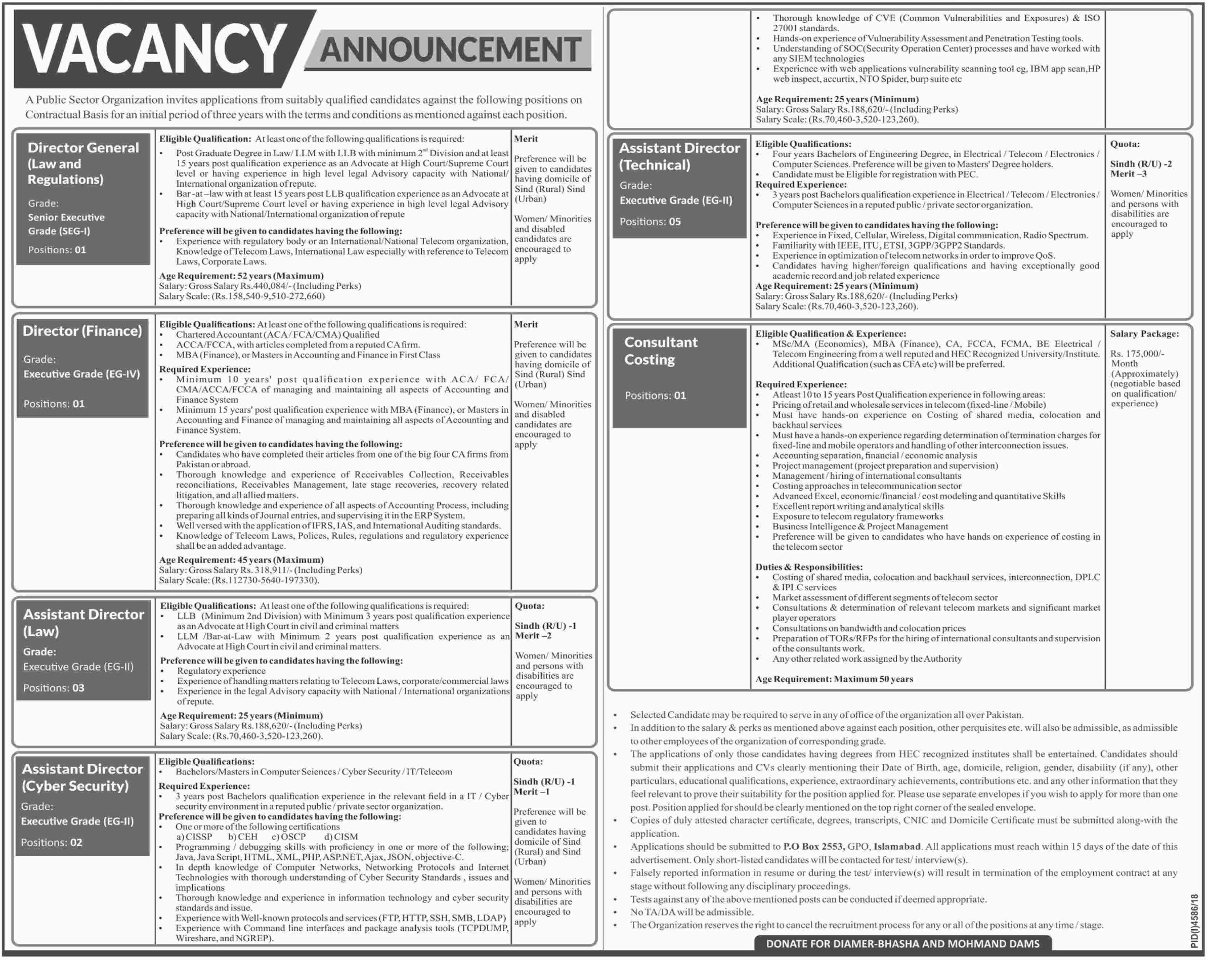 Public Sector Organization Jobs 2019 P.O.Box 2553 Islamabad Latest