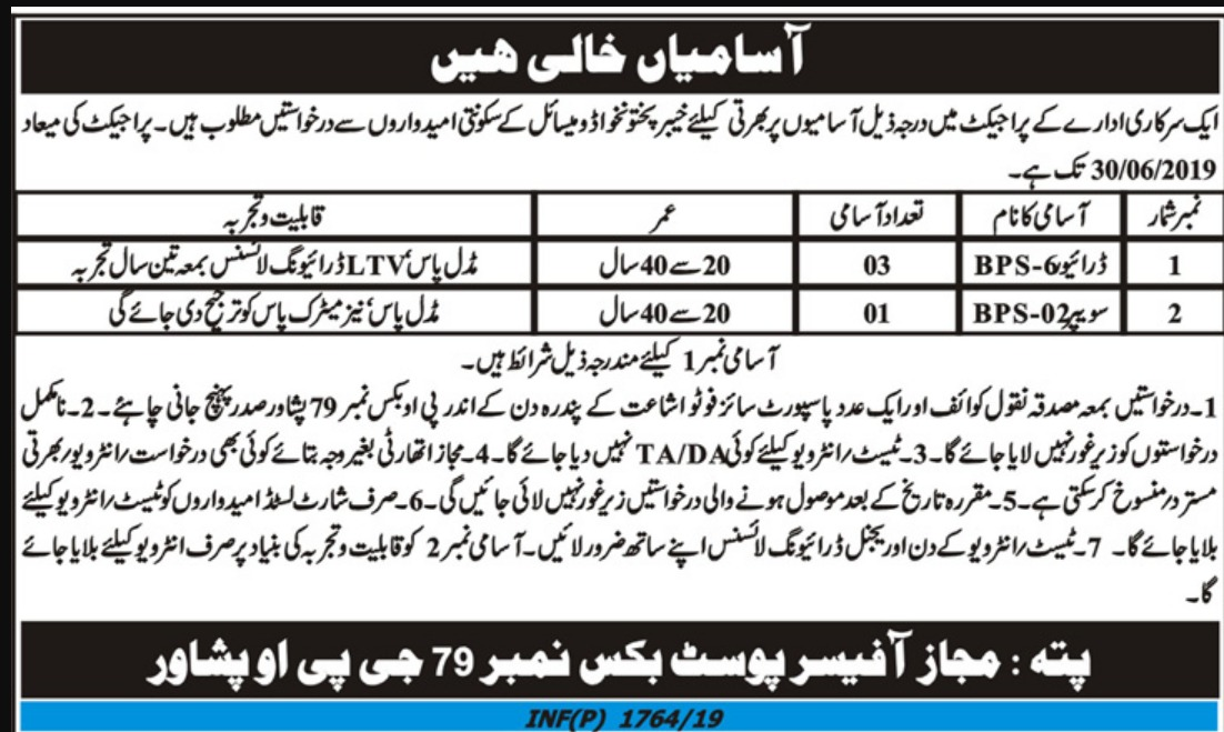 Public Sector Organization Jobs 2019 P.O.Box 79 Peshawar Latest