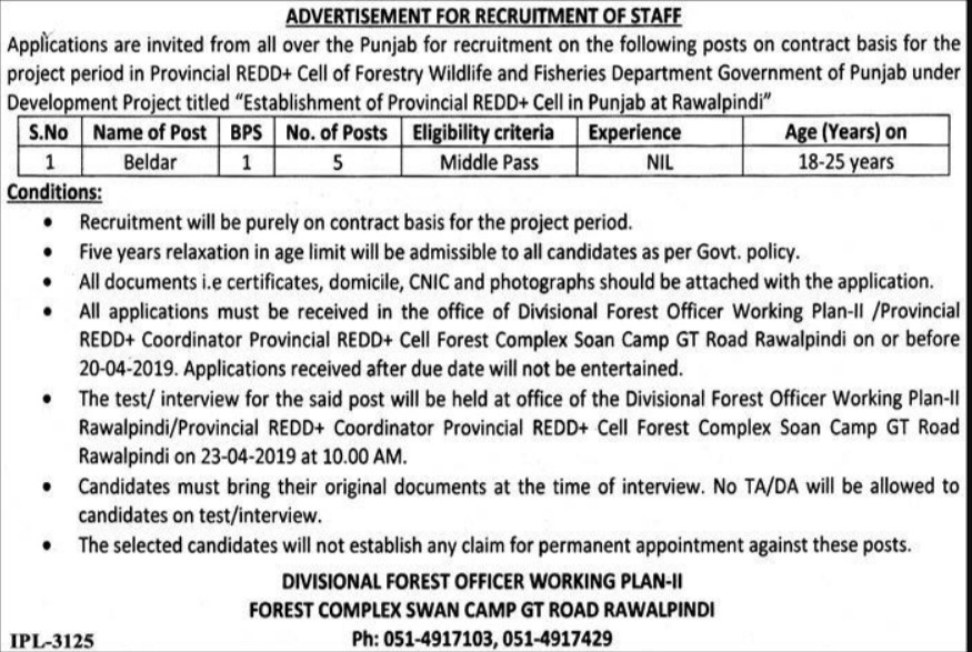 Punjab Forest Department Rawalpindi Jobs 2019 Latest