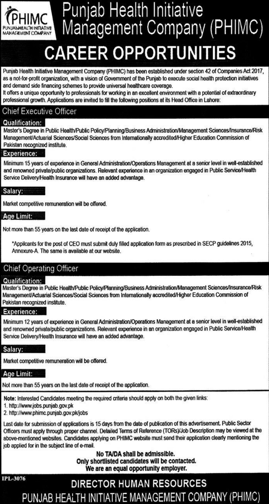 Punjab Health Initiative Management Company PHIMC Jobs 2019 Latest