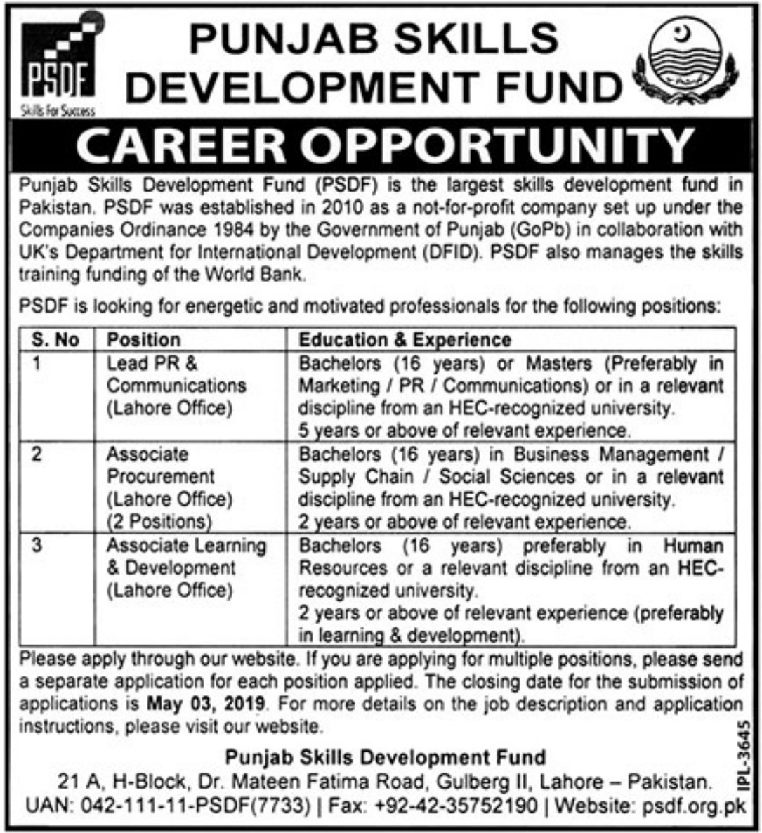 Punjab Skills Development Fund PSDF Jobs 2019 Latest