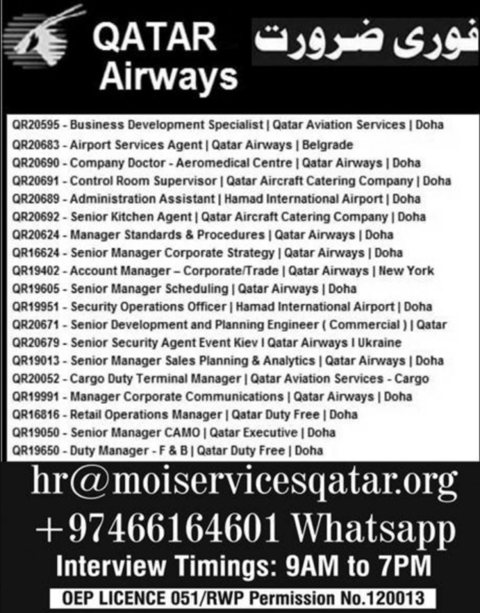 Qatar Airways Jobs 2019 Doha Latest