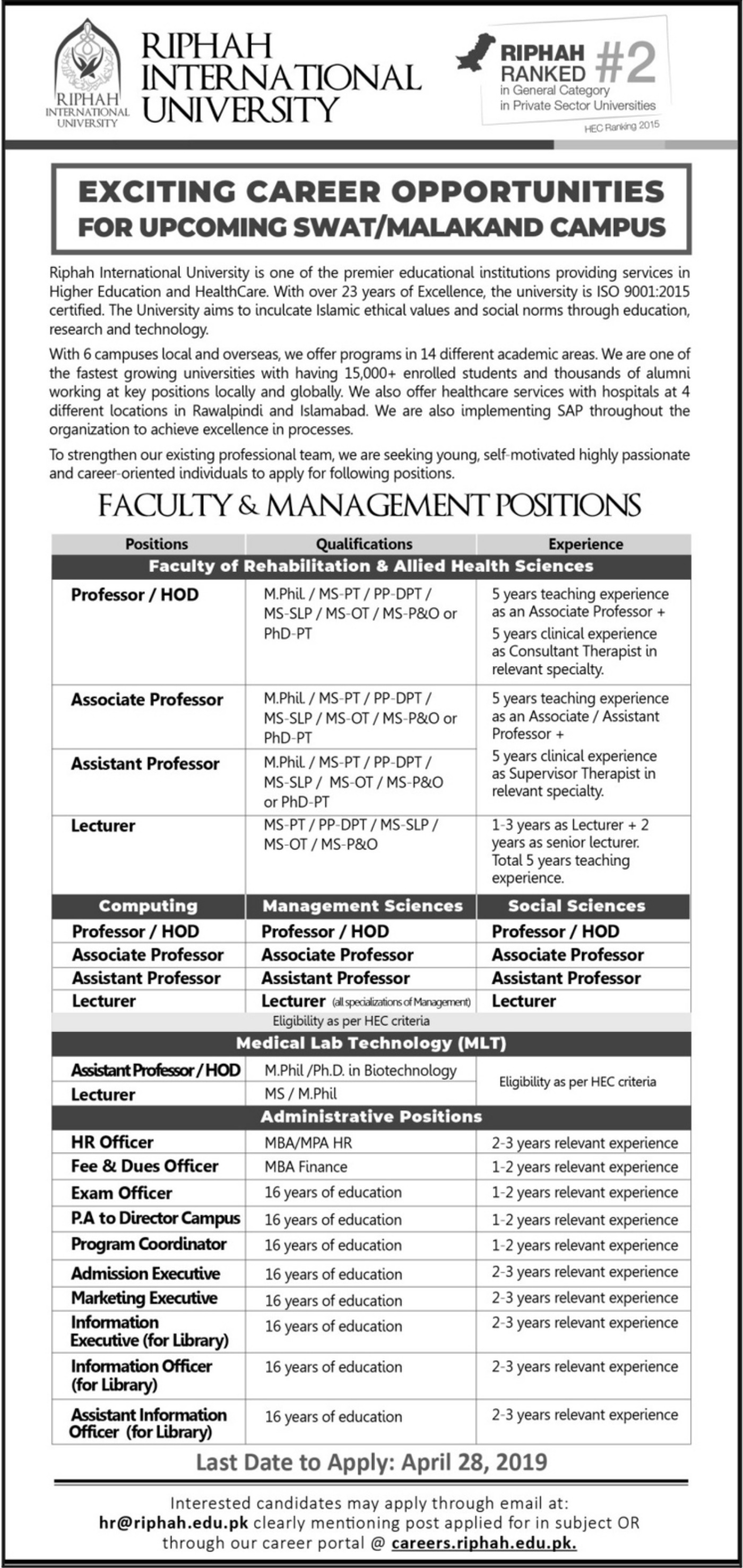 Riphah International University Jobs 2019 Swat & Malakand KPK Latest