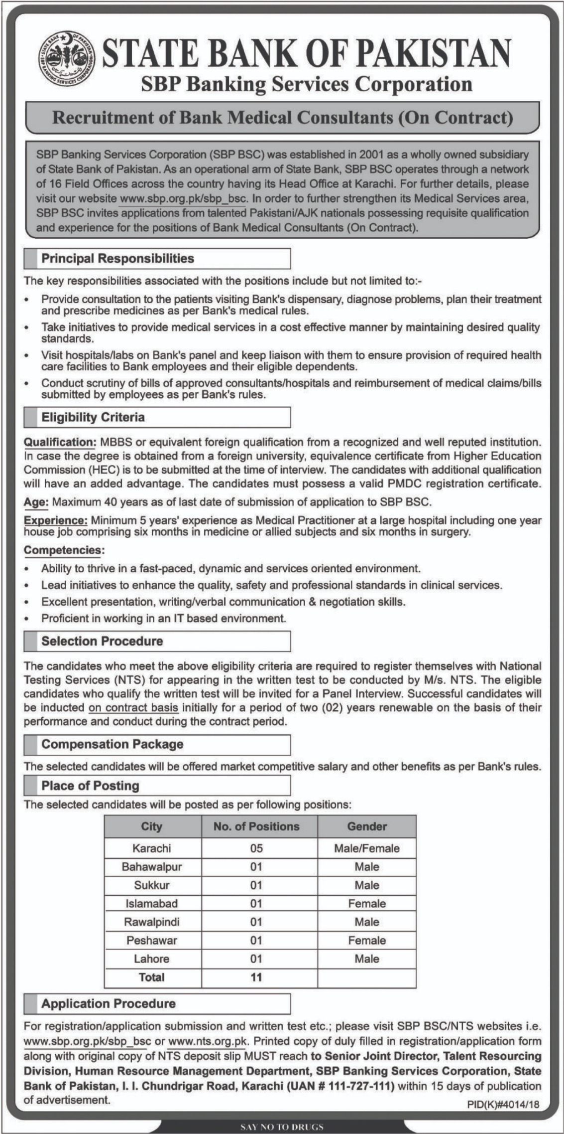 SBP Banking Services Corporation Jobs 2019 State Bank of Pakistan