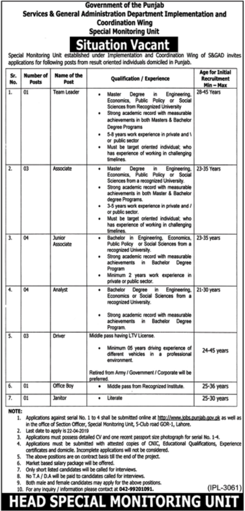 Services & General Administration Department S&GAD Punjab Jobs 2019 Latest