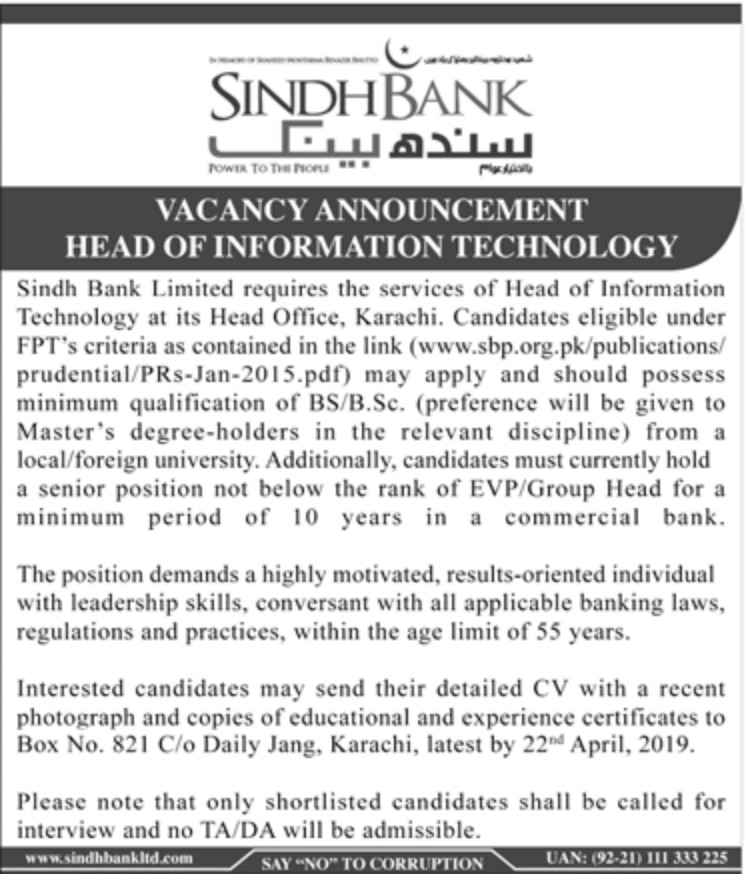 Sindh Bank Ltd Jobs 2019 Head of IT Latest