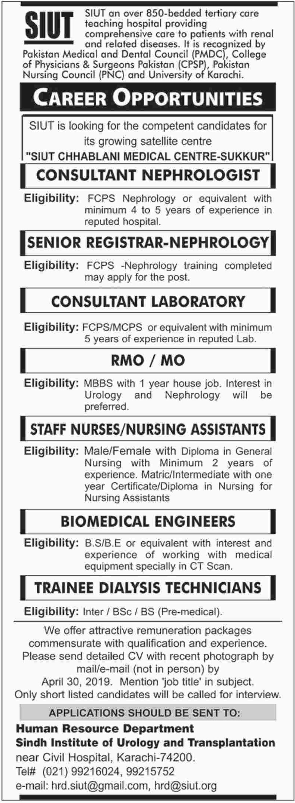 Sindh Institute of Urology & Transplantation SIUT Jobs 2019 Sukkur Latest