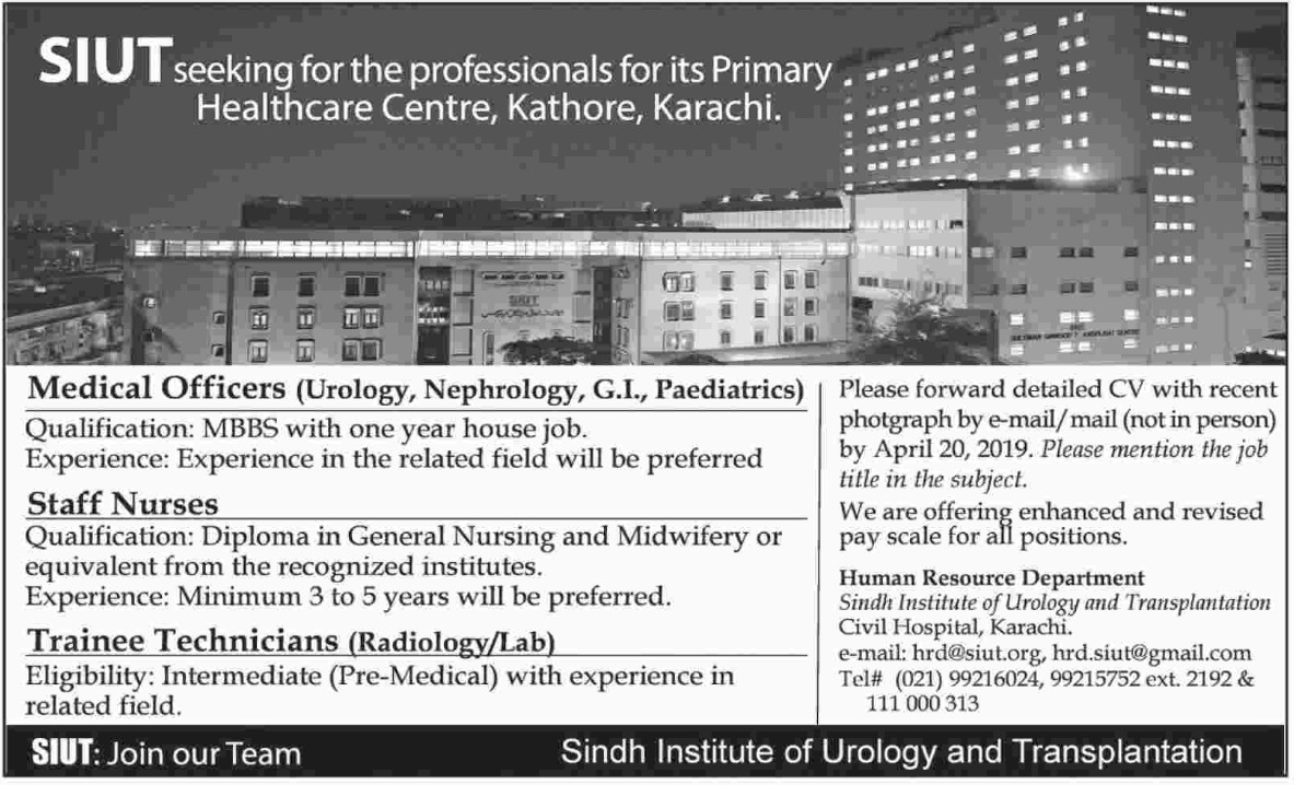 Sindh Institute of Urology and Transplantation SIUT Karachi Jobs 2019 Latest