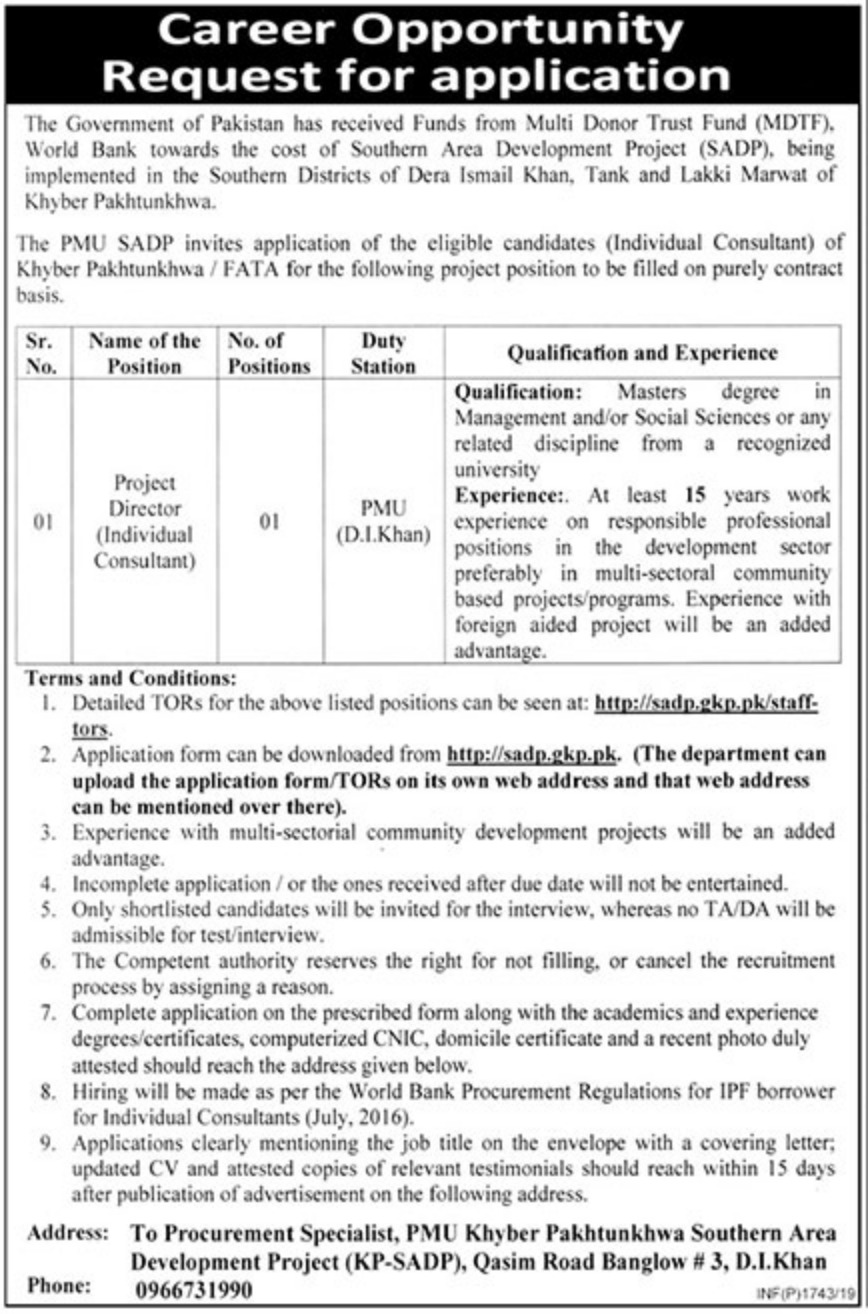 Southern Area Development Project SADP PMU Jobs 2019 D.I.Khan