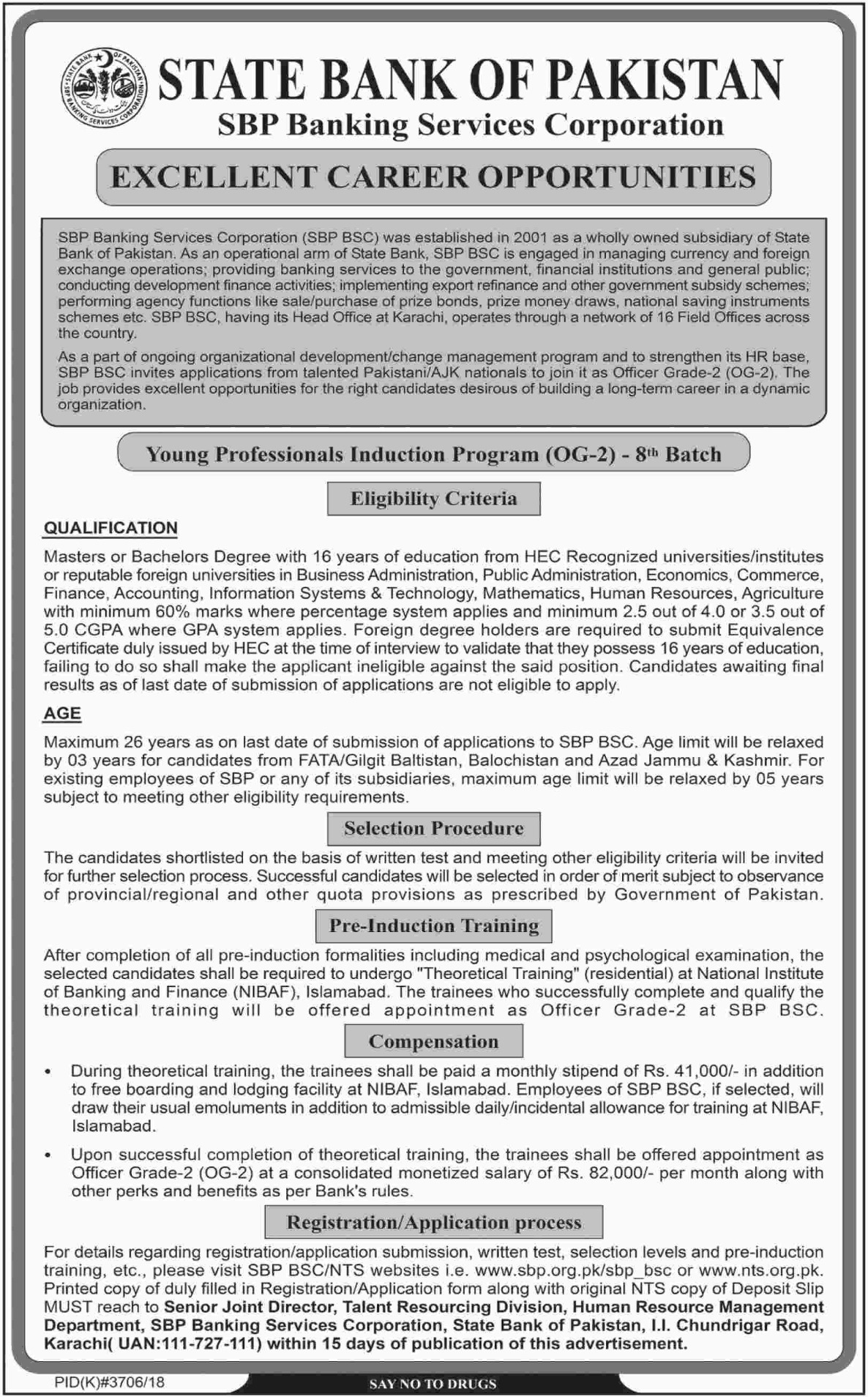 State Bank of Pakistan Jobs 2019 SBP Banking Services Corporation Latest