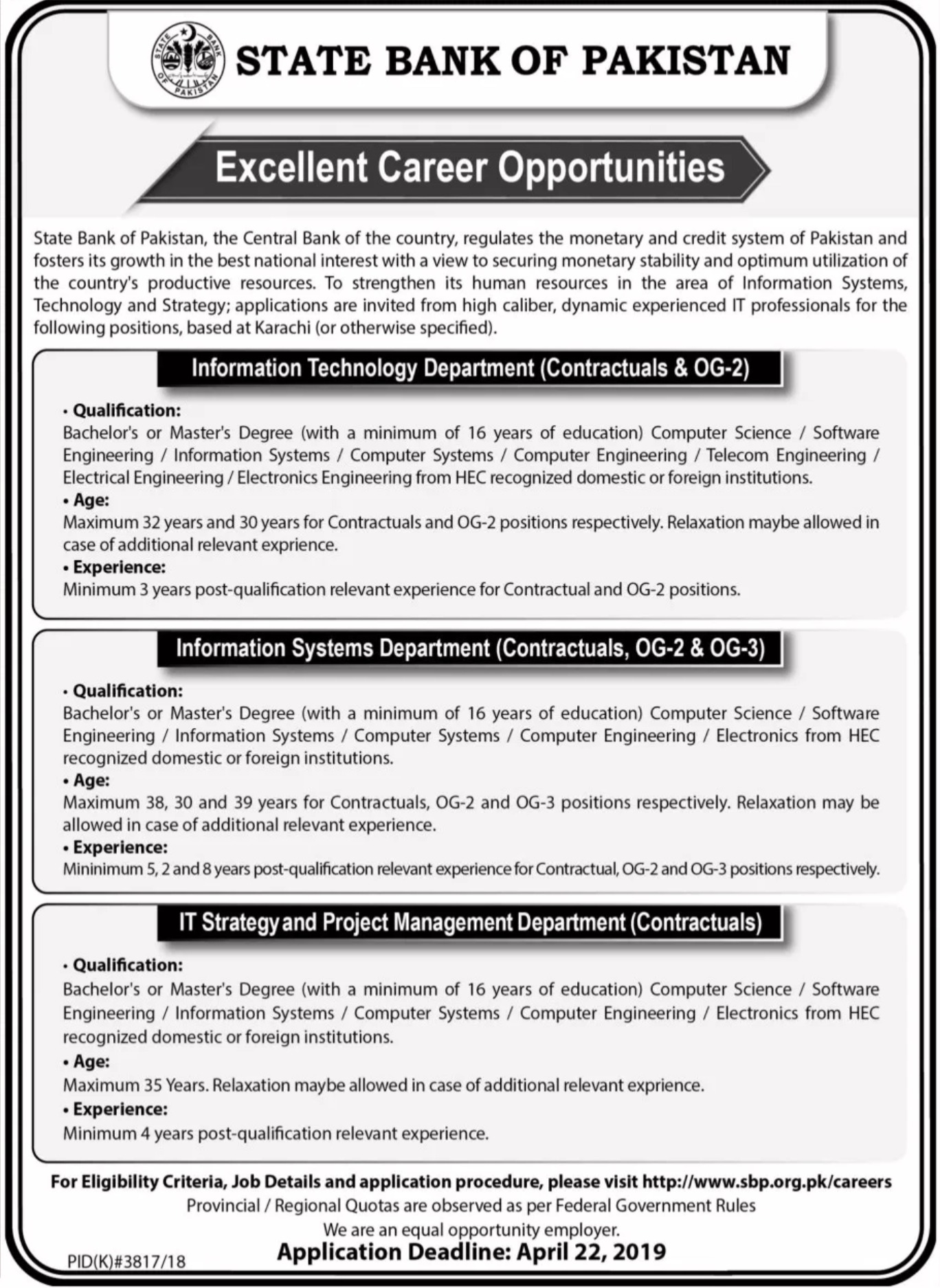 State Bank of Pakistan SBP Jobs 2019 IT Professionals Latest