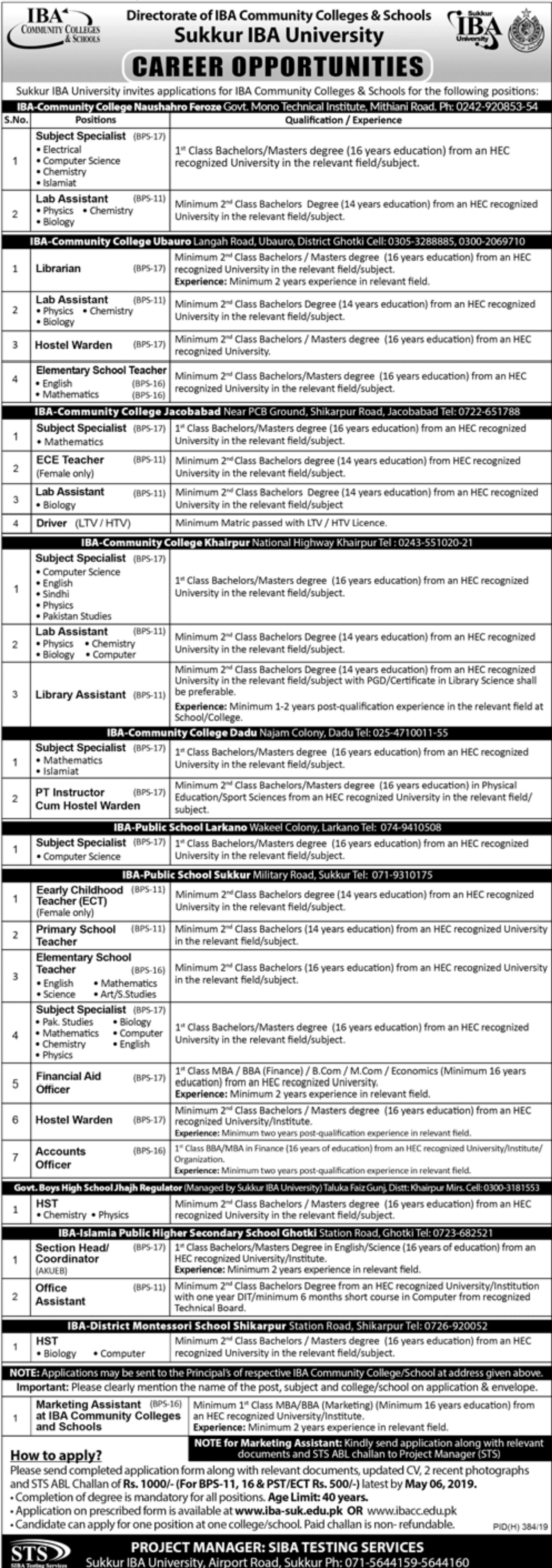 Sukkur IBA University Jobs 2019 Sindh Apply through STS Website