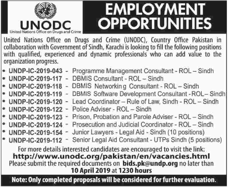 United Nations Office on Drugs & Crime UNODC Jobs 2019 Sindh Latest
