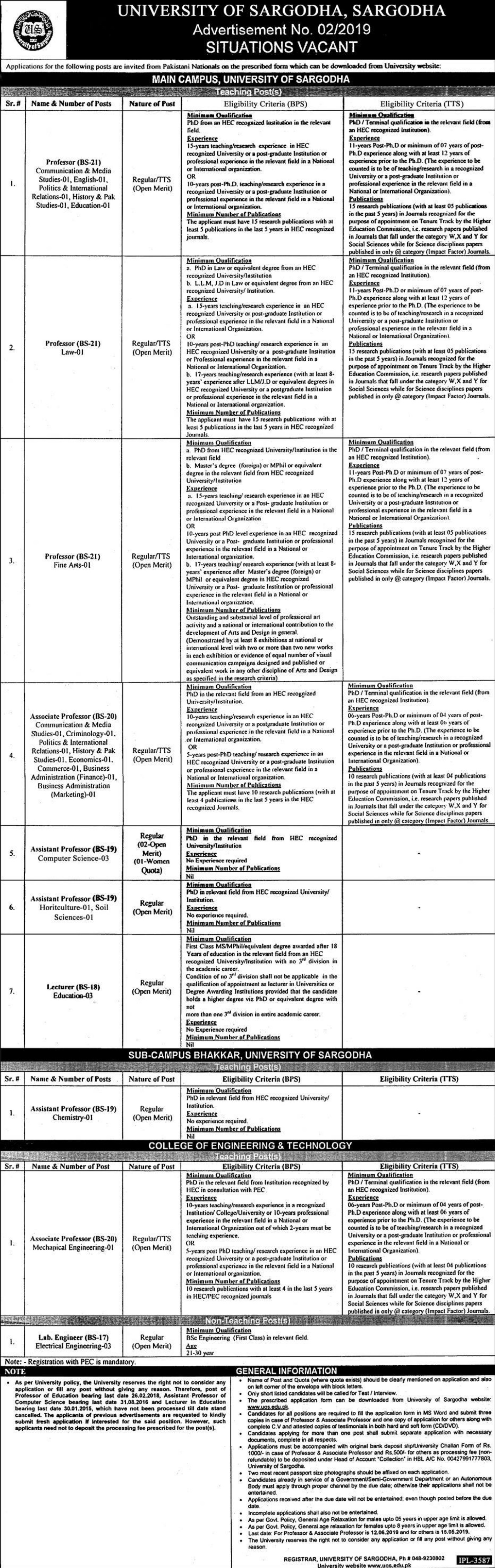 University of Sargodha Jobs 02-2019 Latest