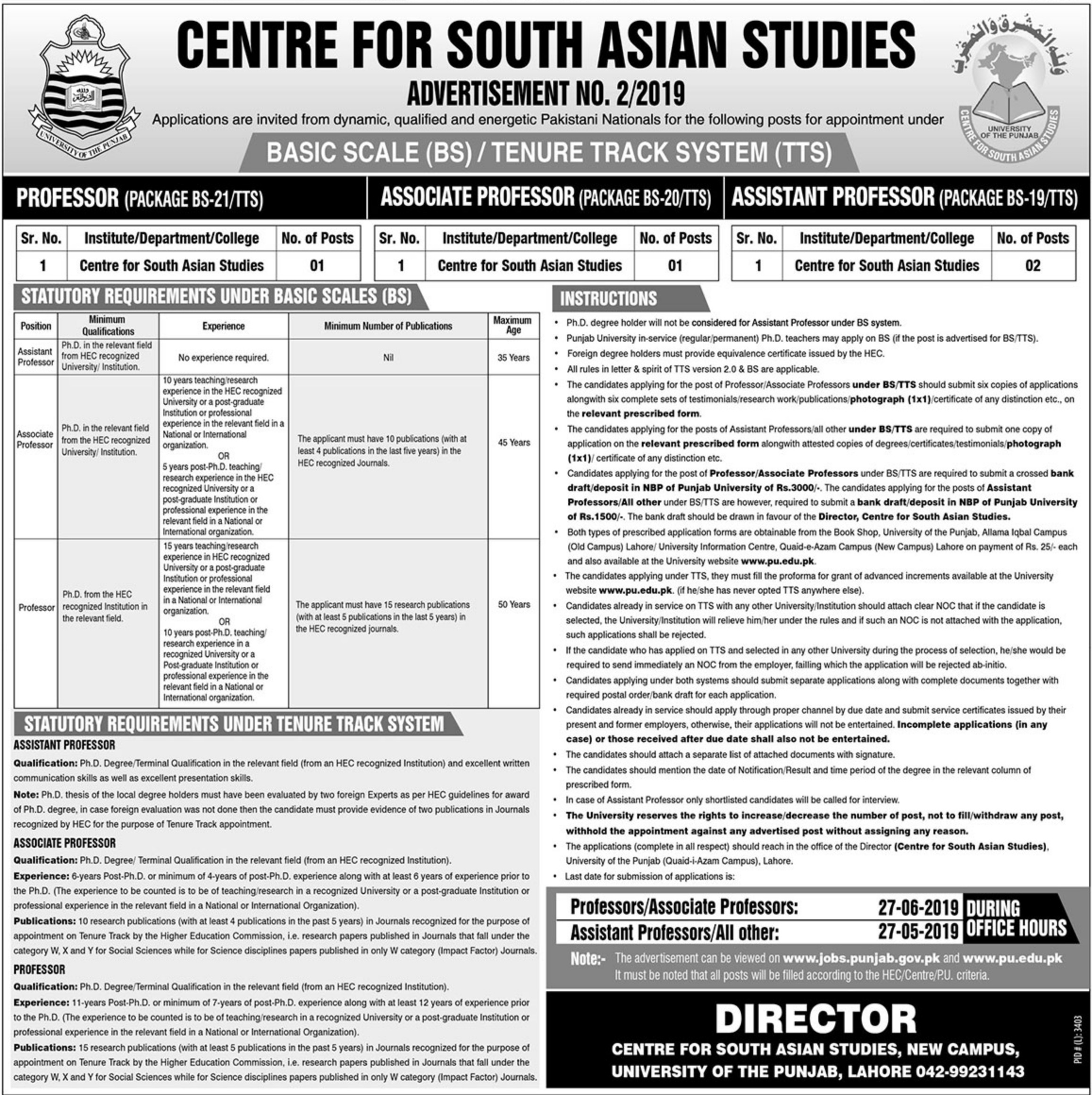 University of the Punjab Lahore Jobs 2019 Centre for South Asian Studies