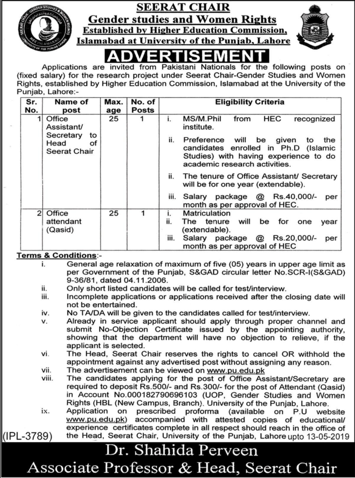 University of the Punjab Lahore Jobs 2019 Seerat Chair Gender Studies & Women RightsUniversity of the Punjab Lahore Jobs 2019 Seerat Chair Gender Studies & Women Rights