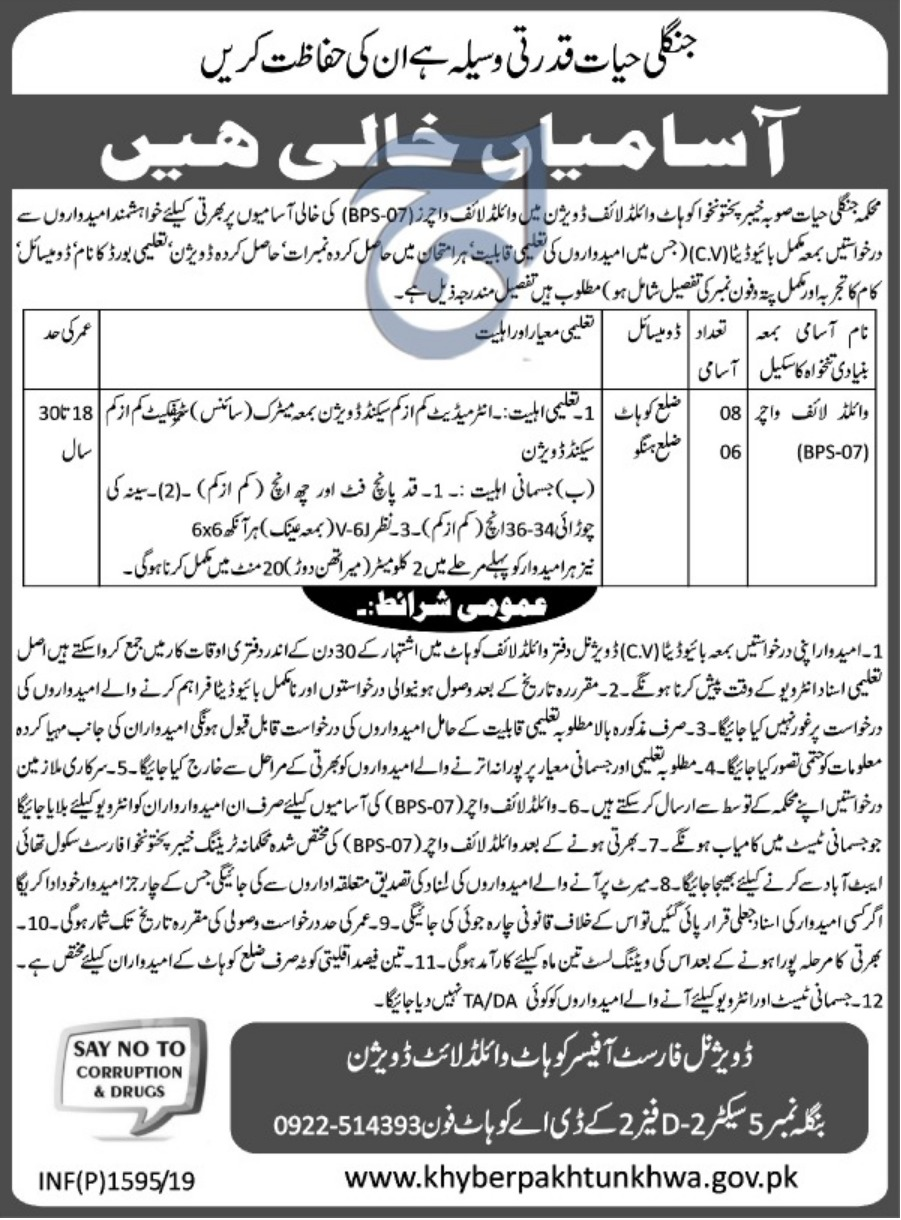 Wildlife Department Kohat Jobs 2019 KPK