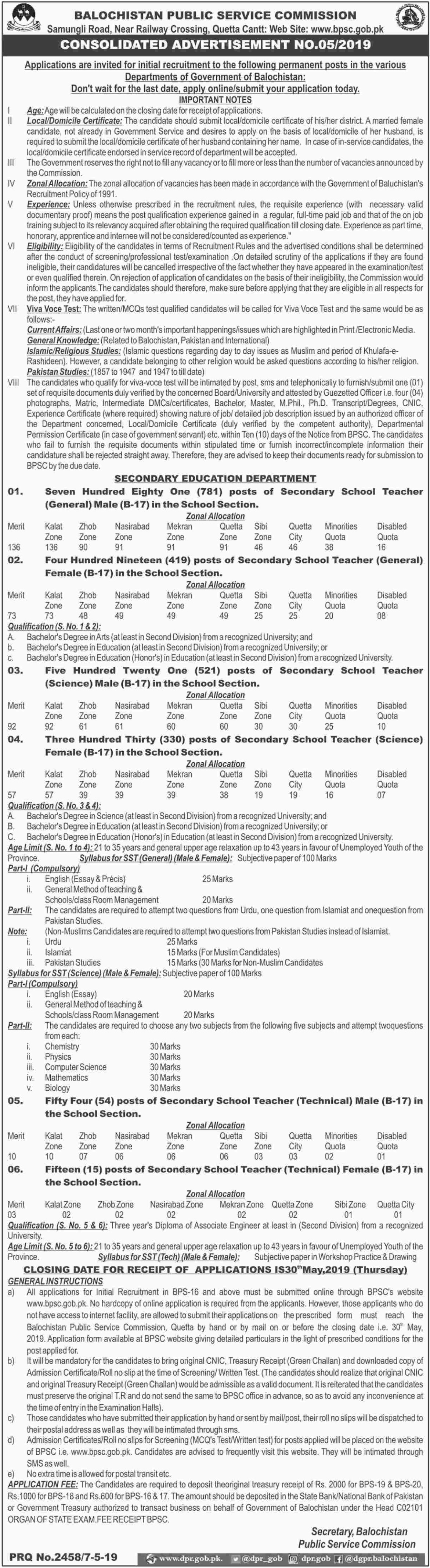 Balochistan Public Service Commission BPSC Jobs 2019 Latest Advertisement