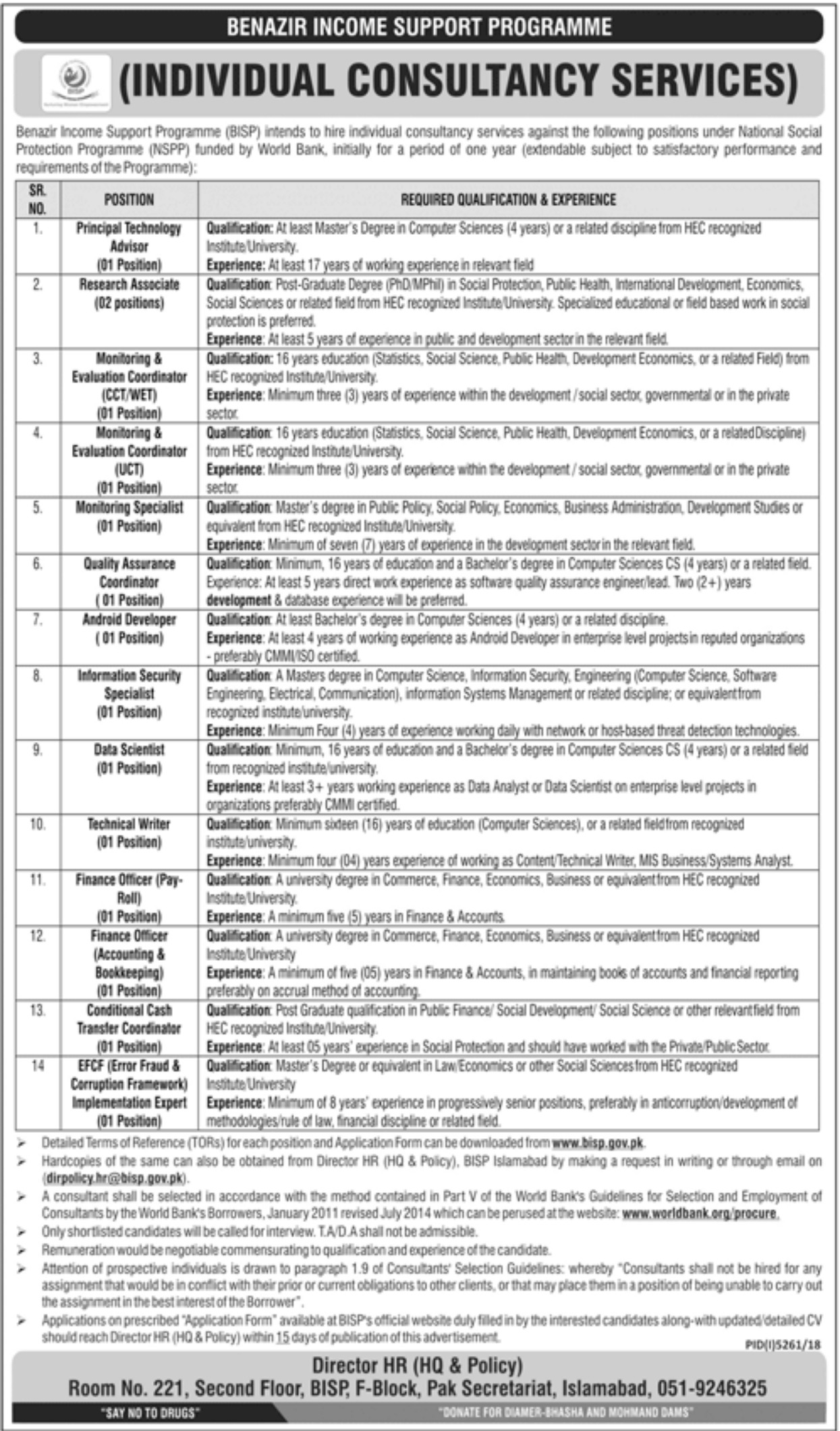Benazir Income Support Programme BISP Jobs 2019 Individual Consultancy Services