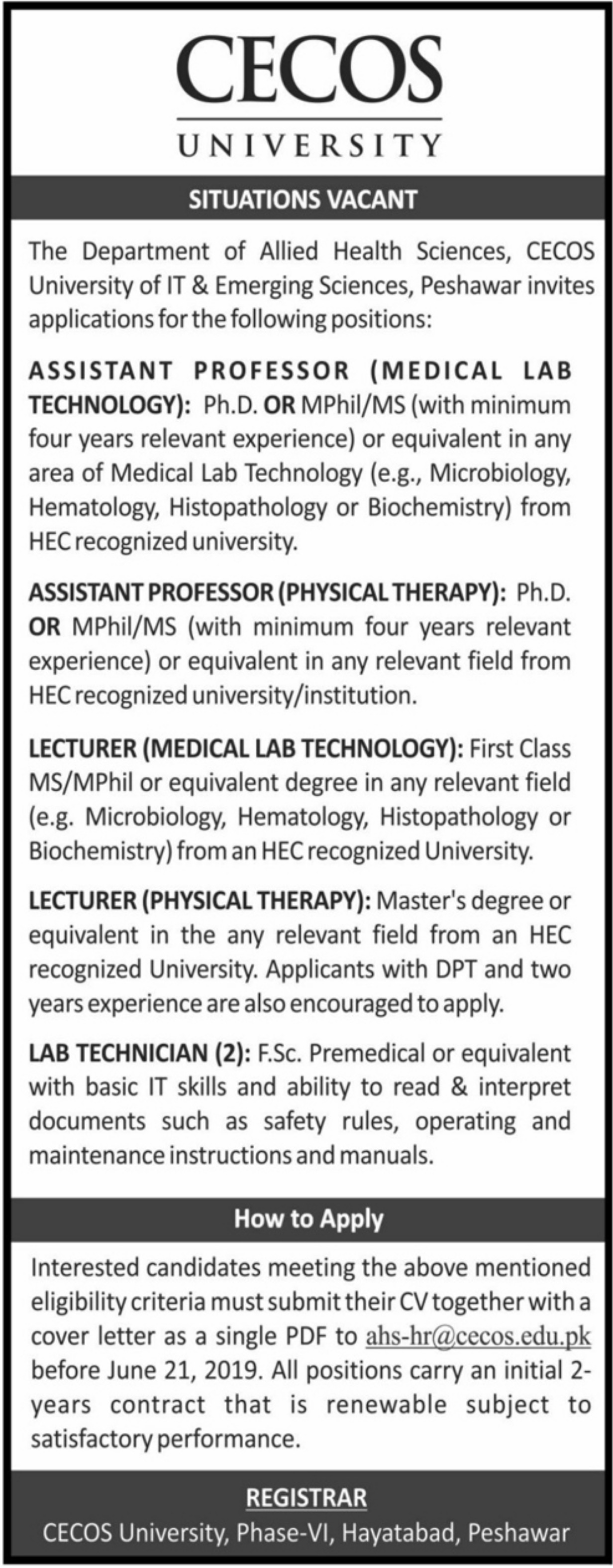 CECOS University Peshawar Jobs 2019 Department of Allied Health