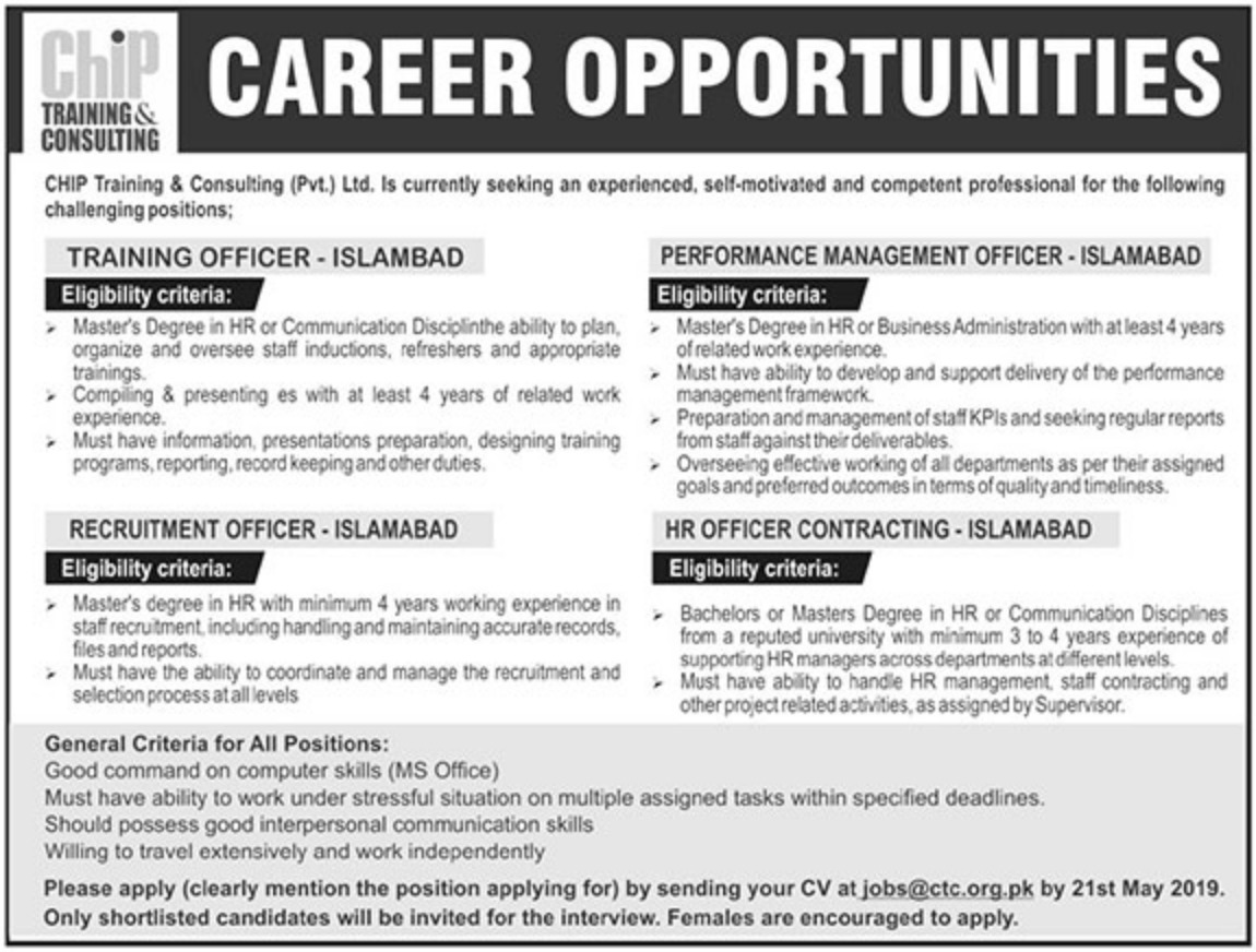 CHIP Training & Consulting Pvt Ltd Jobs 2019 CTC Islamabad