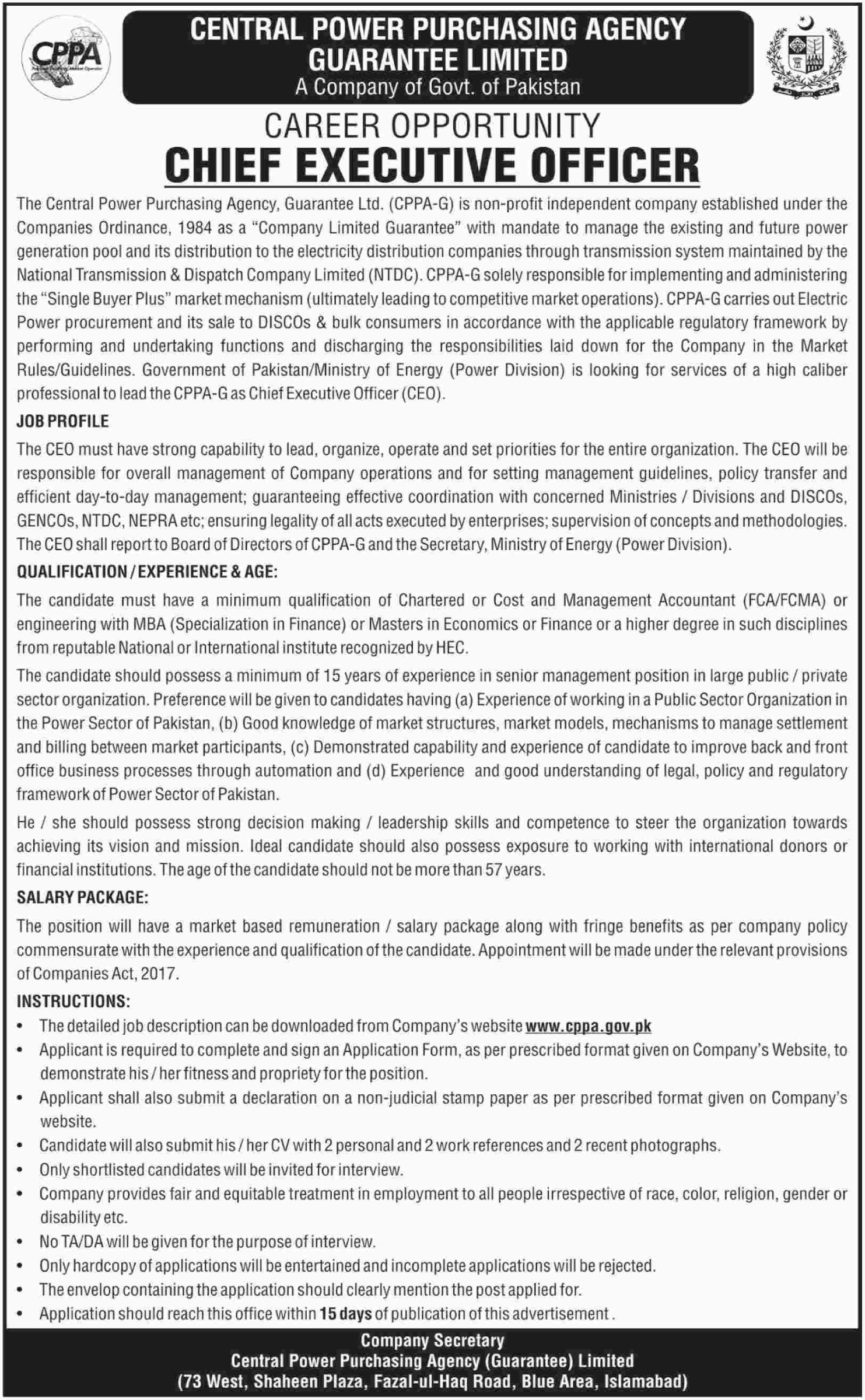 Central Power Purchasing Agency CPAA Jobs 2019