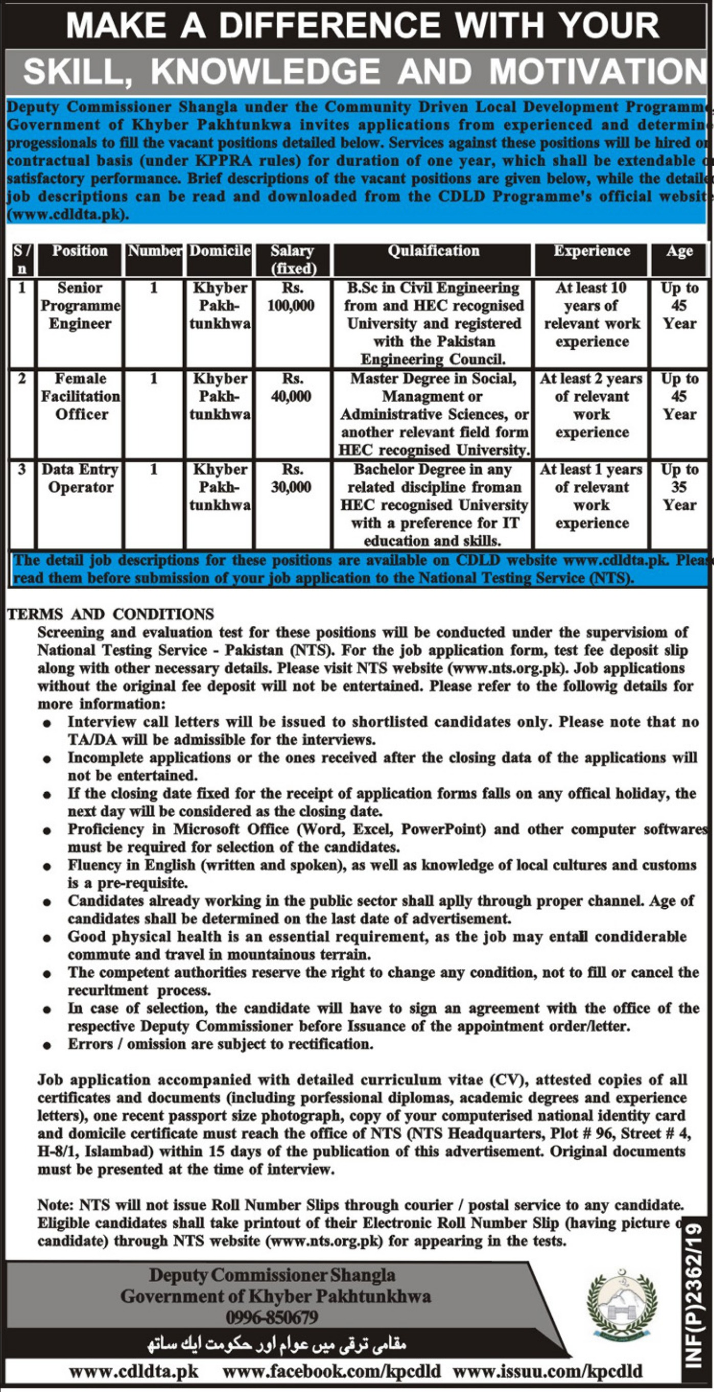 Community Driven Local Development CDLD Programme KPK Jobs 2019 Deputy Commissioner Shangla