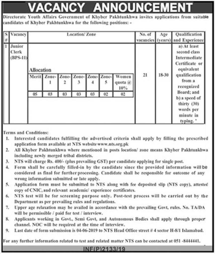 Directorate Youth Affairs Peshawar KPK Jobs 2019 Apply through NTS