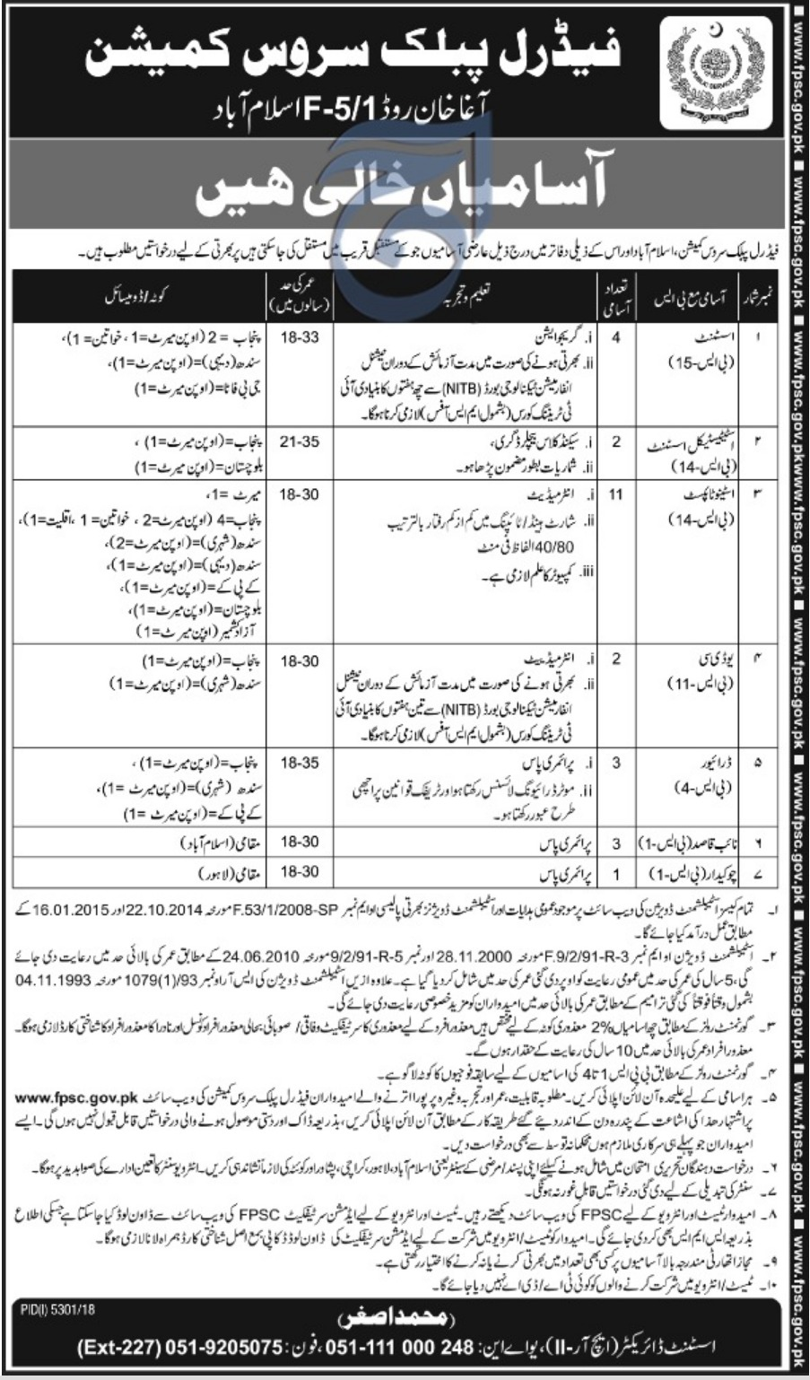 Federal Public Service Commission FPSC Islamabad Jobs 2019 Latest