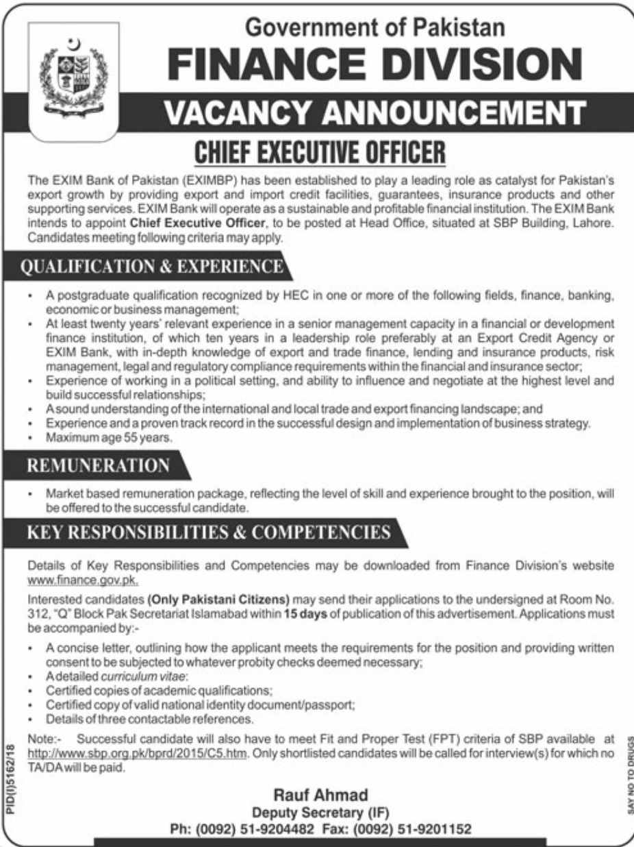 Finance Division Jobs 2019 Government of Pakistan
