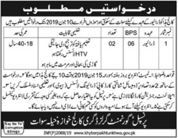Government Girls Degree College Swat Jobs 2019
