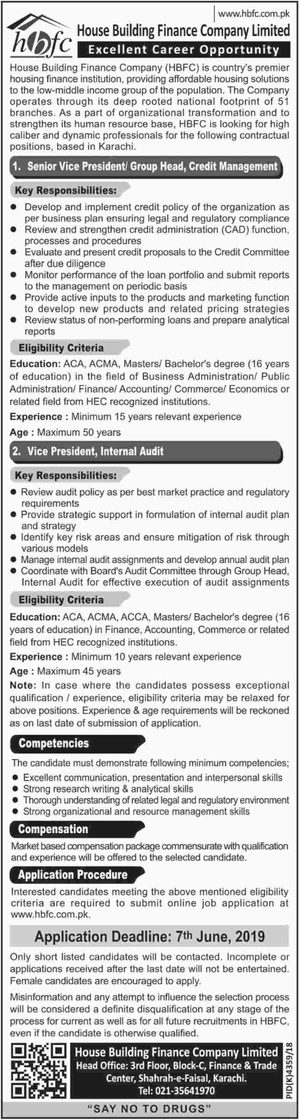 House Building Finance Company Ltd HBFC Jobs 2019 Latest