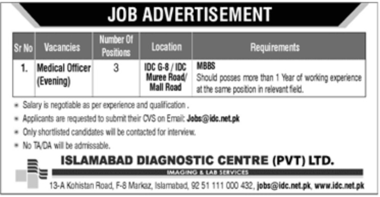 Islamabad Diagnostic Centre Pvt Ltd Jobs 2019