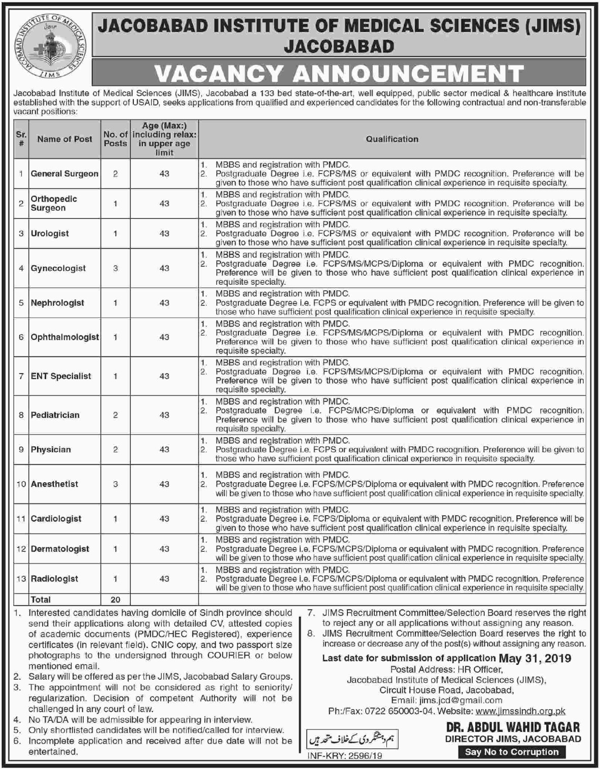 Jacobabad Institute of Medical Sciences JIMS Jobs 2019 Sindh
