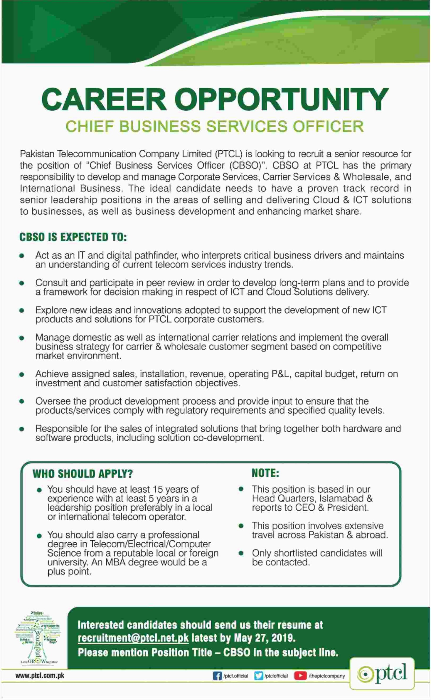 Join PTCL as Chief Business Services Officer 2019