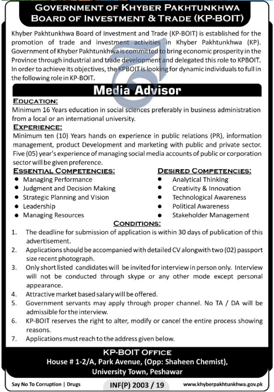 Khyber Pakhtunkhwa Board of Investment & Trade KPBOIT Jobs 2019