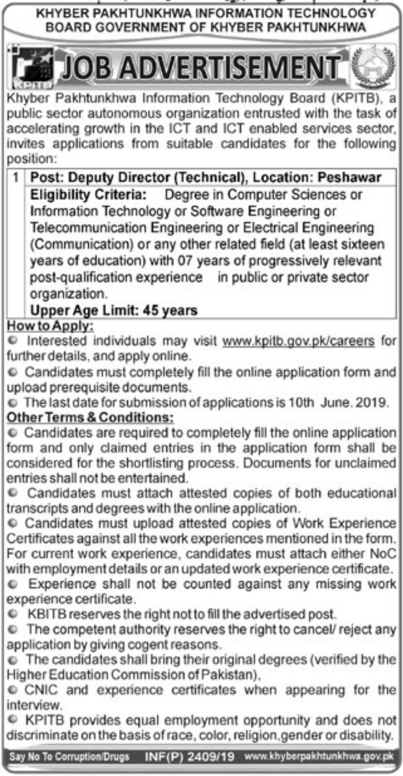 Khyber Pakhtunkhwa Information Technology Board KPITB Jobs 2019Khyber Pakhtunkhwa Information Technology Board KPITB Jobs 2019