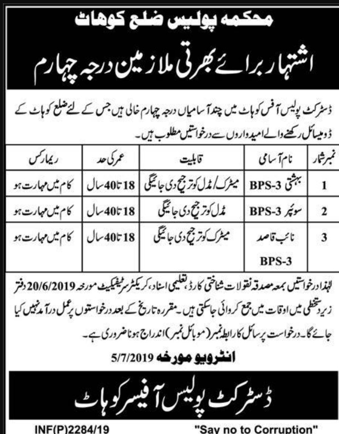 Khyber Pakhtunkhwa Police Department Jobs 2019 Kohat