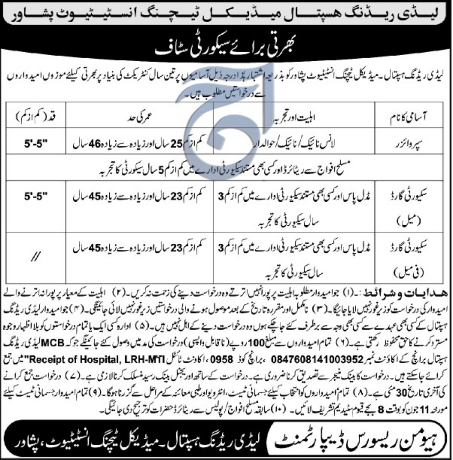 Lady Reading Hospital LRH Peshawar Jobs 2019 MTI KPK
