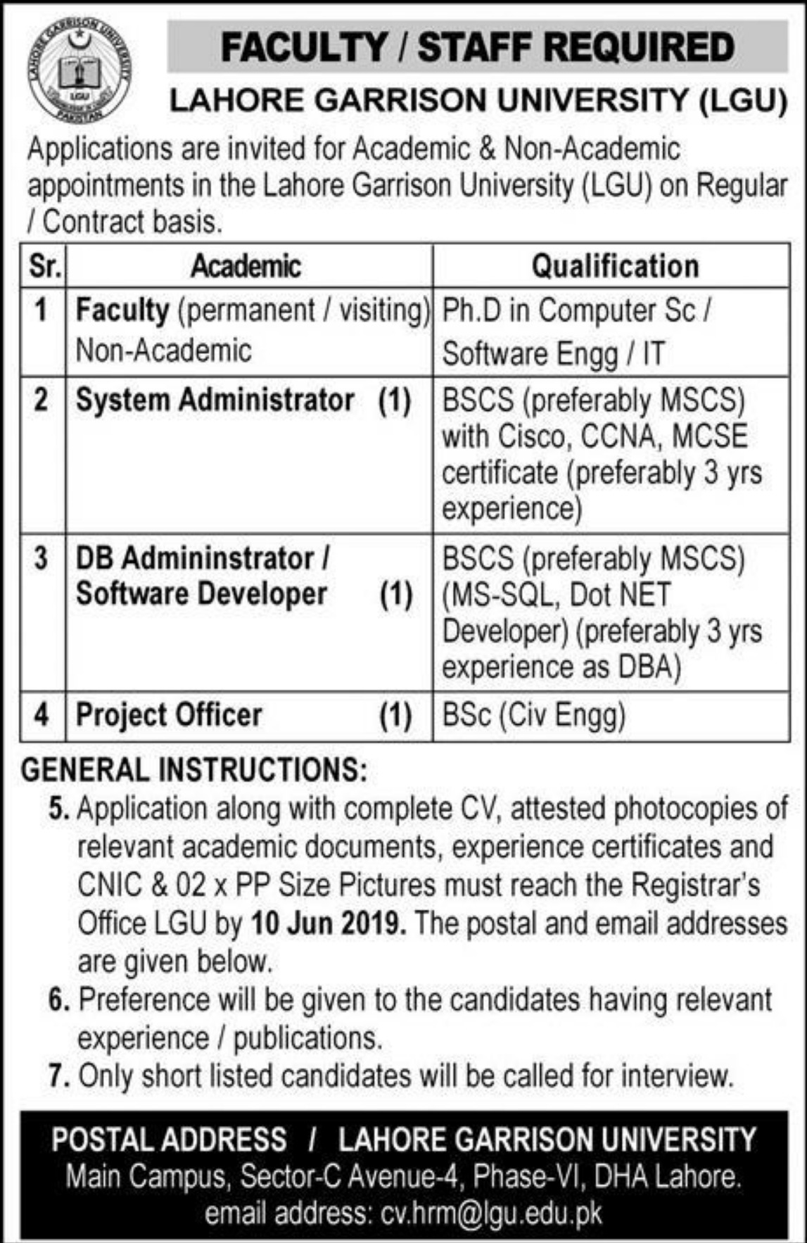 Lahore Garrison University LGU Jobs 2019